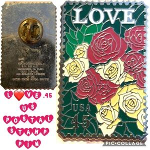 Jewelry - Vintage .45 Cent L❤️VE Stamp w Roses Enamel Pin